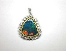 LAST CALL!!$11K WINSTON STYLE 18KT GOLD BLACK OPAL WHITE YELLOW DIAMOND PENDANT
