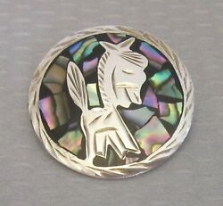 vtg MEXICO 925 SILVER ABALONE INLAY PIN PENDANT etched burro donkey eagle mark