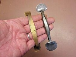 Two 2 Drawer Door Pulls 4 7 8quot; Brass 5 5 8quot; Hand Forged Wrought Iron Neat $9.99