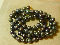 14k Gold Clasp Black Peacock Fresh Water Baroque Knotted Pearl 18