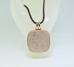 Brand New 14k Rose Gold Diamond Pendant Charm with Leather Cord Necklace 16