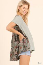 Umgee Sage Short Sleeve High Low Top WFloral Print Back Design $24.95
