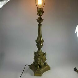 Vintage Lamp Brass Ornate 3 side lion cat head fenial goth victorian 34 in Rare $74.99