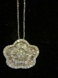 50% OFF! $16236 IMPORTANT 18KT LRG CLEEF STYLE FLORAL DIAMOND PENDANT NECKLACE