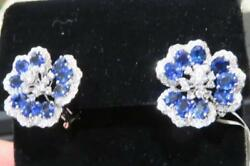 50% CLEARANCE!!$16600 RARE GORGEOUS 18KT GOLD SAPPHIRE DIAMOND FLOWER EARRINGS