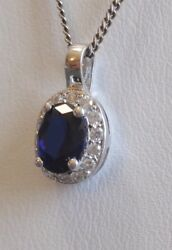 Stauer Lab Created Blue Sapphire & Faux Diamond Pendant Necklace Sterling Silver