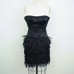 BCBGMazazria Runway Dress Sz 0 Strapless Black Bustier Satin Silk Ruffles C22