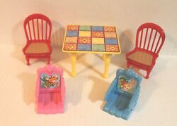 Fisher Price Loving Family Dollhouse Dining Table with 2 Red Chairs amp; Baby Seats $20.00