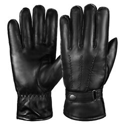 Men Cold Weather Dress Gloves Genuine Leather Driving Gloves Black $13.99