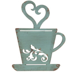 Turquoise Rusty Metal Coffee Cup Wall Kitchen Restaurant Coffee Shop Decor $16.00