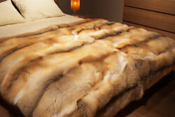 Handmade Luxury Golden Island Real Fur Blanket Premium Quality Throw Βedcover