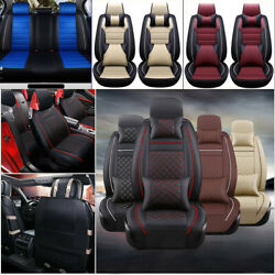 11Pcs Car Seat Cover ProtectorCushion Front amp; Rear Full Set PU Leather Interior $68.16