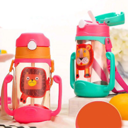 14oz Kids Water Bottle Cups With Straw Silicone Outdoor Tumbler Leak Proof $15.99