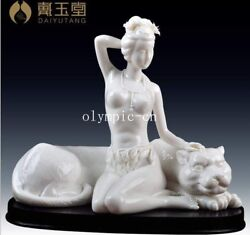 9'' Dehua white porcelain master sculptor signature a girl with leopard statue
