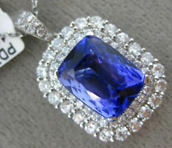 LARGE 5.26CT DIAMOND & AAA CUSHION CUT TANZANITE 18K WHITE HALO FLOATING PENDANT