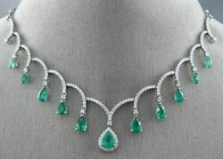 LARGE 6.60CT DIAMOND & AAA COLOMBIAN EMERALD 18KT WHITE GOLD CHANDELIER NECKLACE