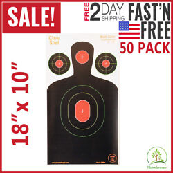 Shooting Targets Reactive Splatter Range Paper Target Gun Shoot Rifle 50PK Glow