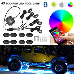 For Jeep Liberty Commander Multi Color RGB LED Rock Lights Bluetooth Music 4x