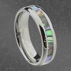 Tungsten Carbide 6mm Band Abalone Shell Inlay Round Edge Unisex Wedding Ring