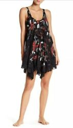 NWT $88 Free People Intimately She Swings Black Lace Dress Slip Anthropologie XS
