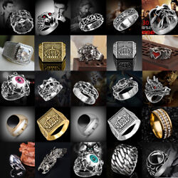 US Men's Stainless Steel Gothic Punk Rings Charm Biker Finger Band Ring Jewelry