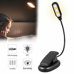 USB Rechargeable Clip-on Table Desk Bed Reading Light Lamp 3 Color LED Flexible $11.97