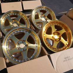 Used Set 18X9.5 AodHan AH01 5x100 +30 Gold Machined Face Wheels