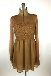 Free People Vintage Lace Long Sleeve Mini Dress Size 2 Brown Solid Sheer Boho