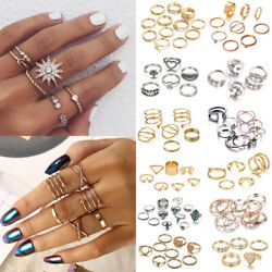 Fashion Silver Gold Boho Stack Plain Above Knuckle Ring Midi Finger Rings Set