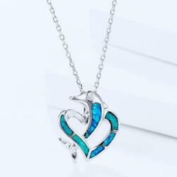 Fashion Silver Color Jewelry Dolphin Fire Opal Charm Pendant Necklace Chain DD