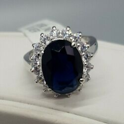 Sterling Silver Lab Created Sapphire With Brilliant Creative Diamond Ring