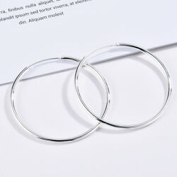 Silver Big Large Round Circle Ear Hoop Womens Earrings Wedding Jewelry Gifts New