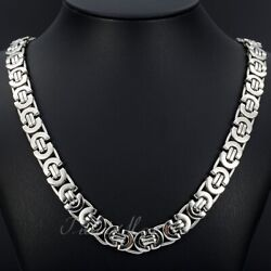 11mm Men#x27;s Silver Flat Byzantine Chain Necklace 316L Stainless Steel 18quot; 36quot; $11.39