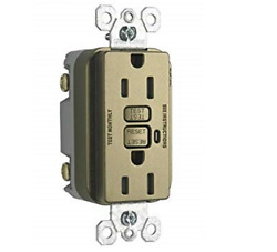 Legrand Trademaster 15A GFCI Duplex Outlet Antique Brass 1595-TRABCC4