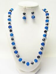 Aqua Blue Crystal Lamp WorkBlack Faceted Crystal Glass Bead NecklaceEarrings
