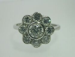 Art Deco Style 18 Carat White Gold Diamond Daisy Ring 1.54 Cts I Colour size N