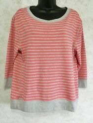 Loft Ladies Soft Knit Pull Over Pink Gray Striped Size Large New with Tags $22.88