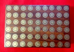 Vintage Exotic Wood Box Inlaid With Brass Wheels Vgc