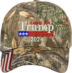 Hawaii for Trump US Flag 2024 Political Gift One Size Fits All Embroidered Hat $19.99