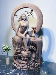 36'' natural toon wood home Decorate beautiful belle women lady girl statue