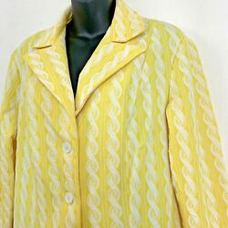 Vintage Union Made Sears Womens Blazer Yellow Polyester Jacket Faux Cable Knit M $22.60