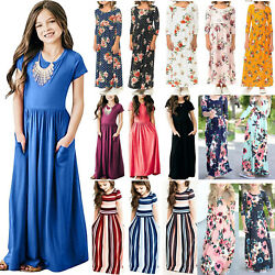 Tiddler Kids Girls Long Maxi Dress Summer Party Holiday Beach Tunic Sundress US