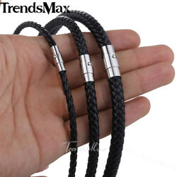 468mm Leather Black Braid Rope Cord Magnet Chain Necklace Jewelry 14-36 inch