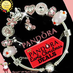 Authentic Pandora Bracelet Silver Disney Minnie Mickey with European Charms Pink