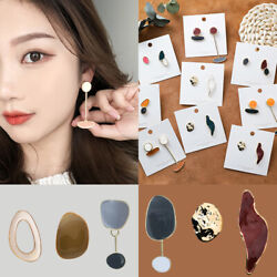 Creative Women Irregular Enamel Ear Stud Geometric Abstract Long Drop Earrings