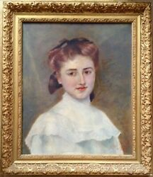 Fine Impressionist Oil Painting French Young Woman Portrait dated 1907 RENOIR ?