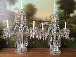 pair Antique Chech st Crystal Banquet Table ChandelierGirandoleLamps 26x17