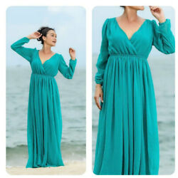 Aqua teal chiffon long sleeve maxi dress all size plus size $69.00