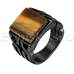 Men's Retro Glossy Stainless Steel Tiger Eye Stone Patterned Band Ring Size 8-11