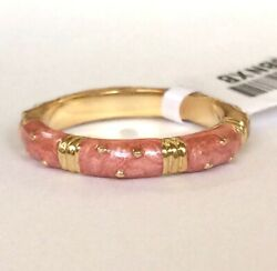 Gold Enamel Eternity Ring Band Size 8 9 Coral Beige Stackable Vintage Plated
